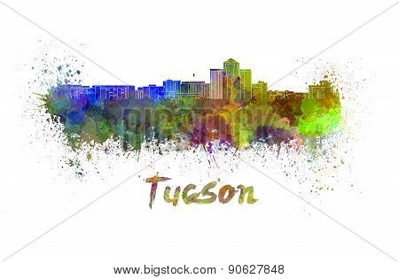 Tucson Skyline In Watercolor