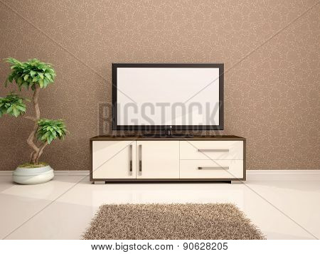 3D Illustration Of Tv Minimalist Interior