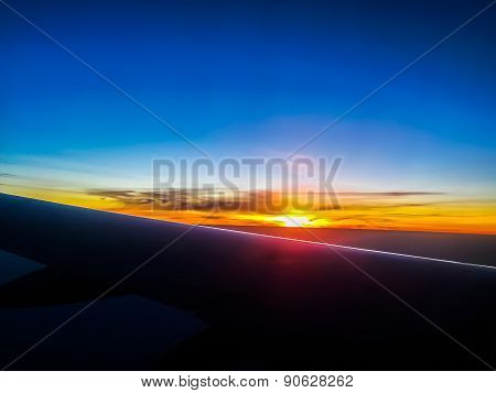 Sunset View From Airplane
