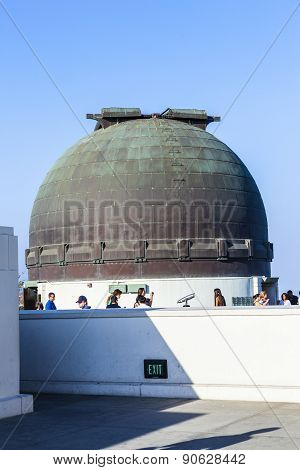 People Visit The Observatory In Griffith Park