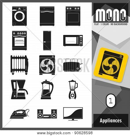 Mono Icons - Appliances 1. Flat monochromatic icons