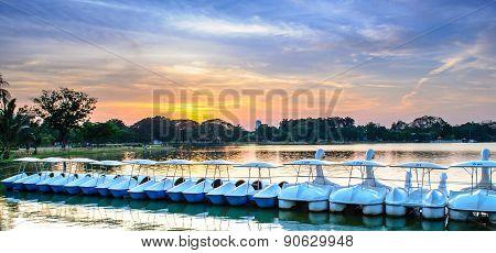 Paddle Boats At Sunset