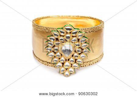 Close up of golden bracelet