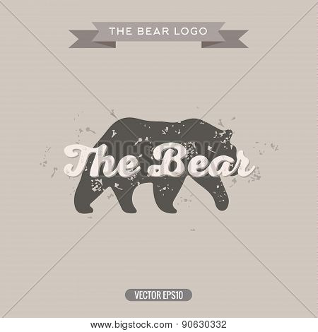 The Bear Vintage trend Logo with Effects Scratches, Vector