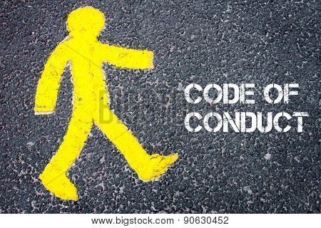 Pedestrian Figure Walking Towards Code Of Conduct