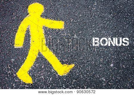 Yellow Pedestrian Figure Walking Towards Bonus