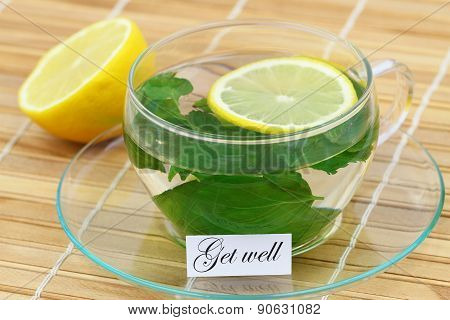 Get well card with mint tea and lemon