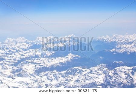 Aerial view of snow clad French Alpes