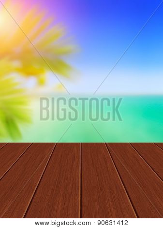 Wooden Terrace, Riviera Coast And Tropical Palms As Background