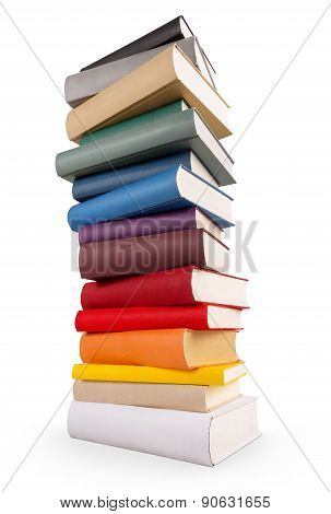 Book Tower With Different Colored Book