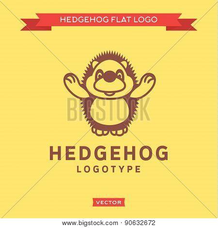 Smiling nice hedgehog outline welcomes flat style vector logo