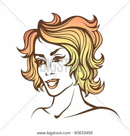 Vector Stylized Portrait Of Cartoon Pretty Fashion Girl With Short Curly Red Hair Isolated On White
