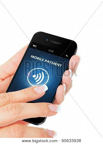 Hand Holding Mobile Phone With Mobile Payment Application Over White