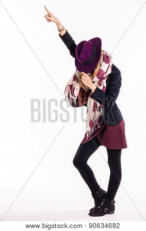 Fashion Girl With Hat in Dance Pose