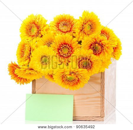Bouquet of gerber flowers in the box