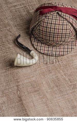 Sherlock Hat And Tobacco Pipe