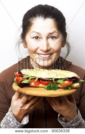 Woman with a sandwich