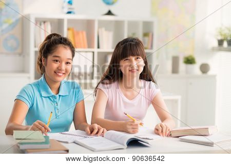 Studying schoolgirls