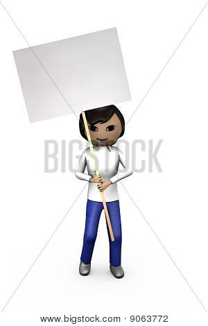 Middle-eastern Asian 3D Guy Holding Blank Placard