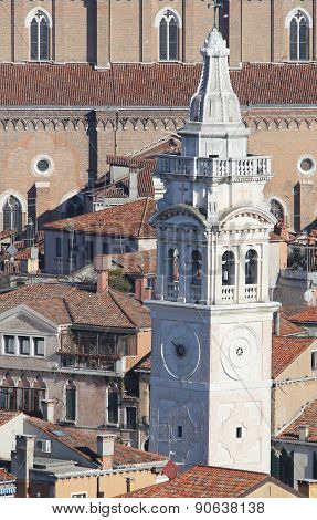White Bell Tower Of Church Of St Mary In Venice