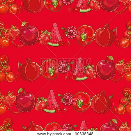 Red Fruits And Vegetables. Seamless background