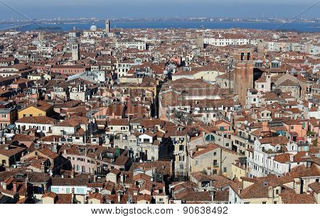 Roofs Of Houses And Buildings In The Venice City In Italy