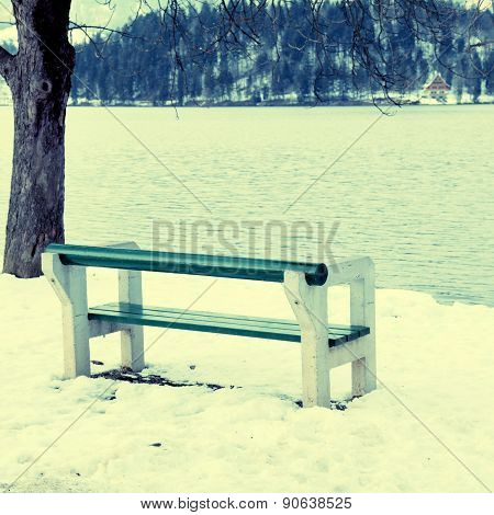 Empty Bench On Lake Bled, Slovenia