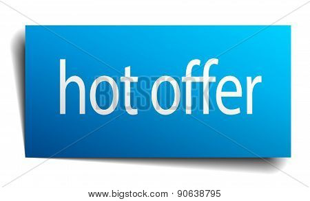 Hot Offer Blue Paper Sign On White Background
