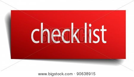 Check List Red Paper Sign Isolated On White