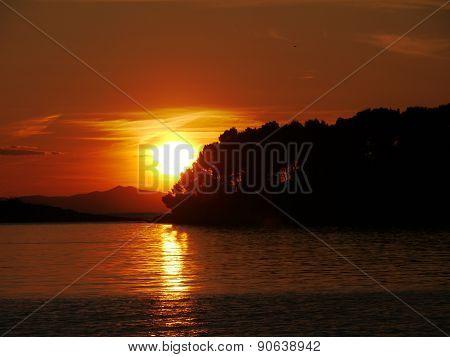 Sunset in the Adriatic sea of Croatia