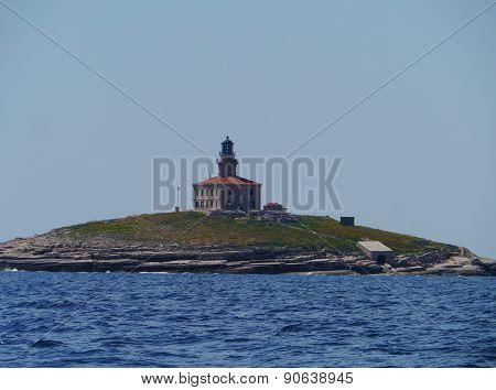 The Glavat lighthouse on a rock