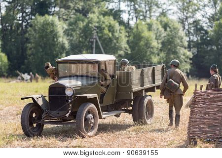 NELIDOVO, RUSSIA- JULY 12, 2014: Battlefield 2014: Soviet army truck and the soldiers