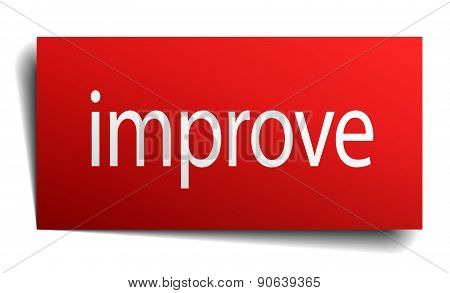 Improve Red Square Isolated Paper Sign On White