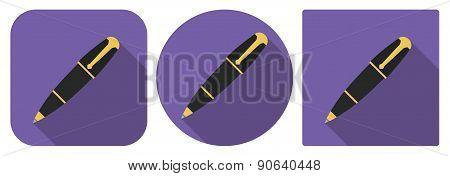 Icon Of Fountain Pen In Flat Design
