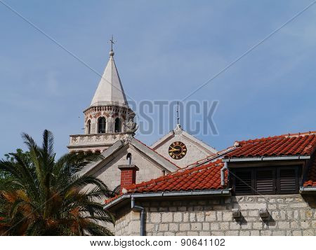 The tower of the church of  Kastel Stafilic in Croatia