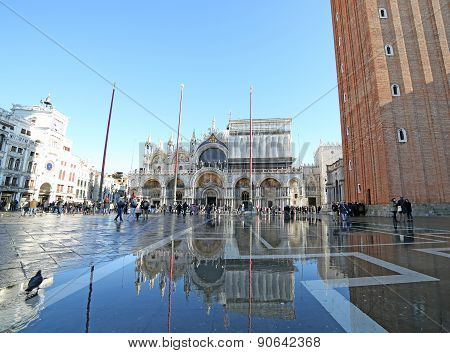Venice, Ve, Italy - January 31, 2015: Saint Mark's Basilica During High Tide  With Tourists