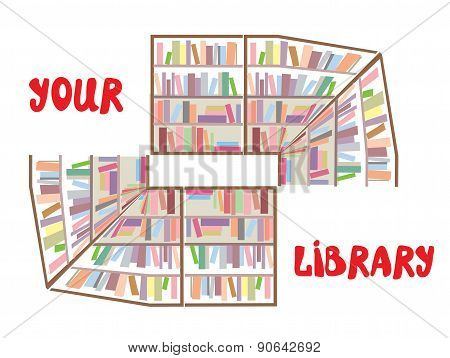 Concept Of Library Sign - Bookshelves And Text