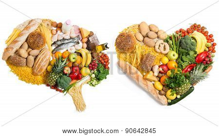 Original Idea. Food In A Shape Of A Brain And Heart On White Background