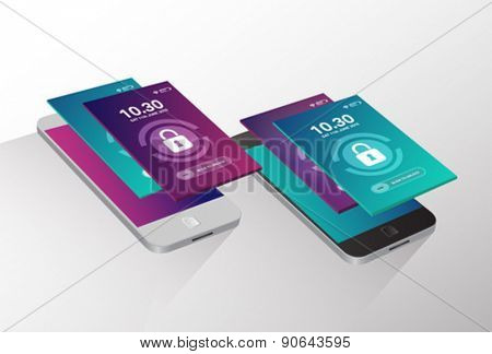 Digitally generated Slide to unlock phone vector
