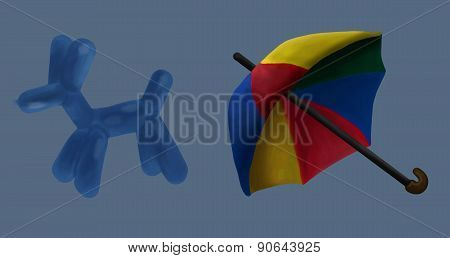 Umbrella And Balloon Circus Vector Illustration