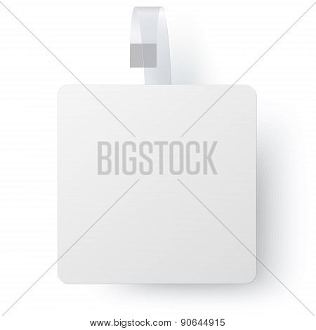 Advertising White Paper Square Wobbler Isolated