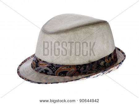 Summer Hat With A Brim, Isolated On A White Background
