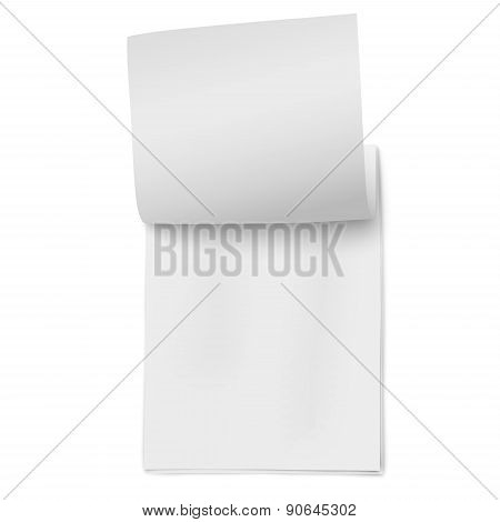 Flipping Page On A Stack Of Note Papers Isolated On White Background