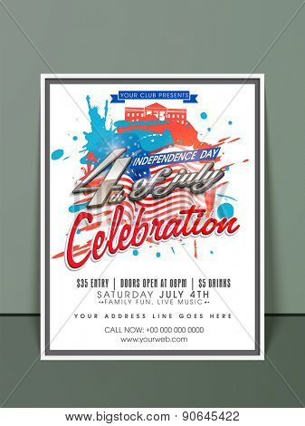 4th of July, American Independence Day celebration invitation card with national flag color splash.