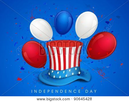 4th of July, American Independence Day celebration with hat and balloons in national flag color on blue background.