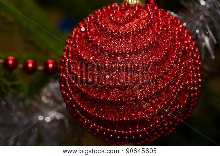 christmas red ball on tree close-up