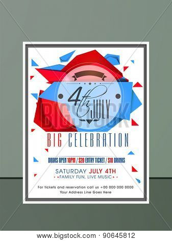 Stylish invitation card with national flag color abstract design for 4th of July, American Independence Day celebration.