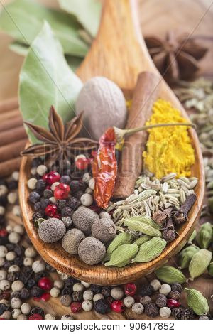 Wooden Spoon With Assortment Of Spices