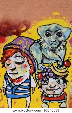 Monkey With Fruit Graffiti