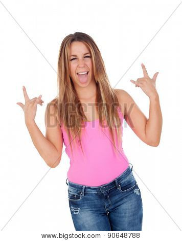 Funny cool woman grimacing isolated on a white background